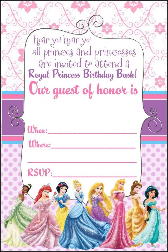 Blank Disney Princess Invitation Template - Template 2  Resume