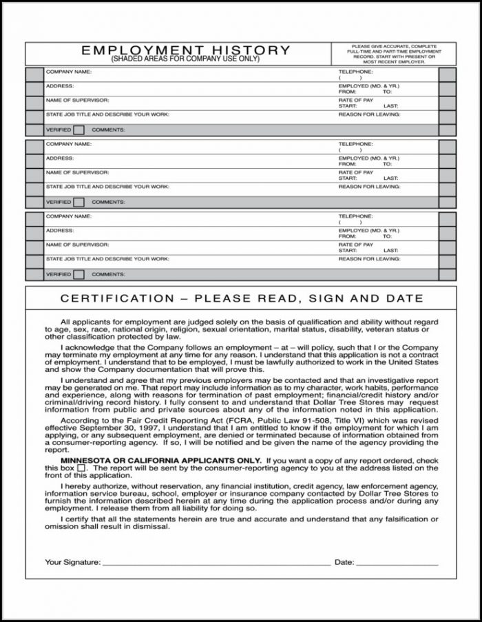 Blank General Employment Application Form - Job Applications
