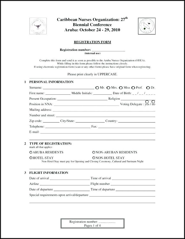 Employee Registration Form Template Free Download - Job Applications