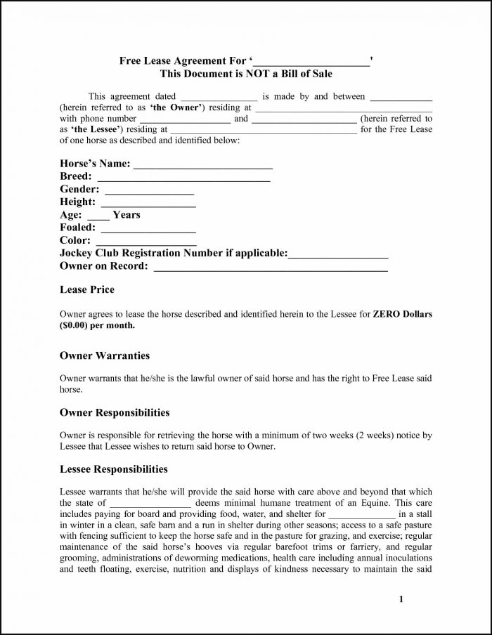 Free Horse Lease Agreement Form - Form  Resume Examples #kPw1g6P8YZ