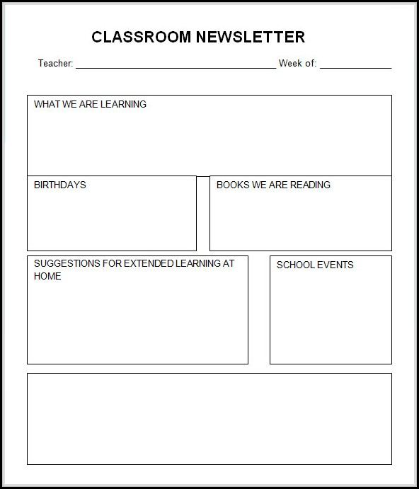 Free Printable Newsletter Templates For Teachers - Template 2