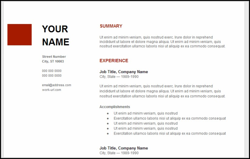 Google Resume Templates Free Download - Resume  Resume Examples