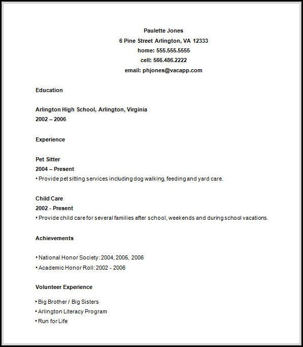 Free Resume Builder For High School Students - Resume  Resume