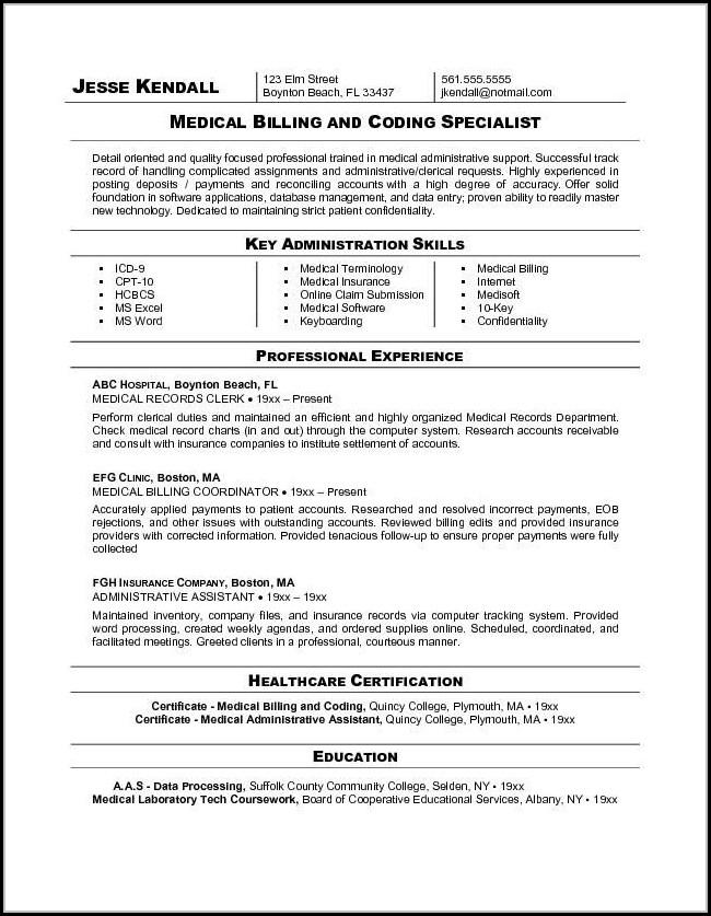 Sample Resume For Medical Billing Specialist - Resume  Resume