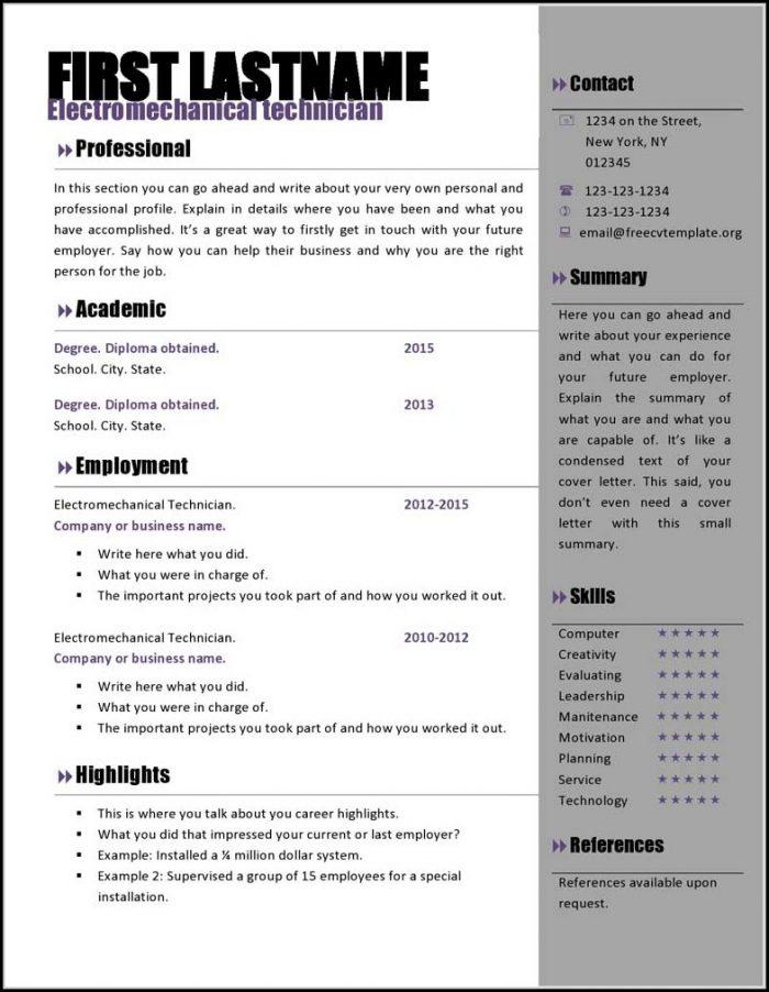 Eye Catching Resume Templates Microsoft Word Free - Resume  Resume