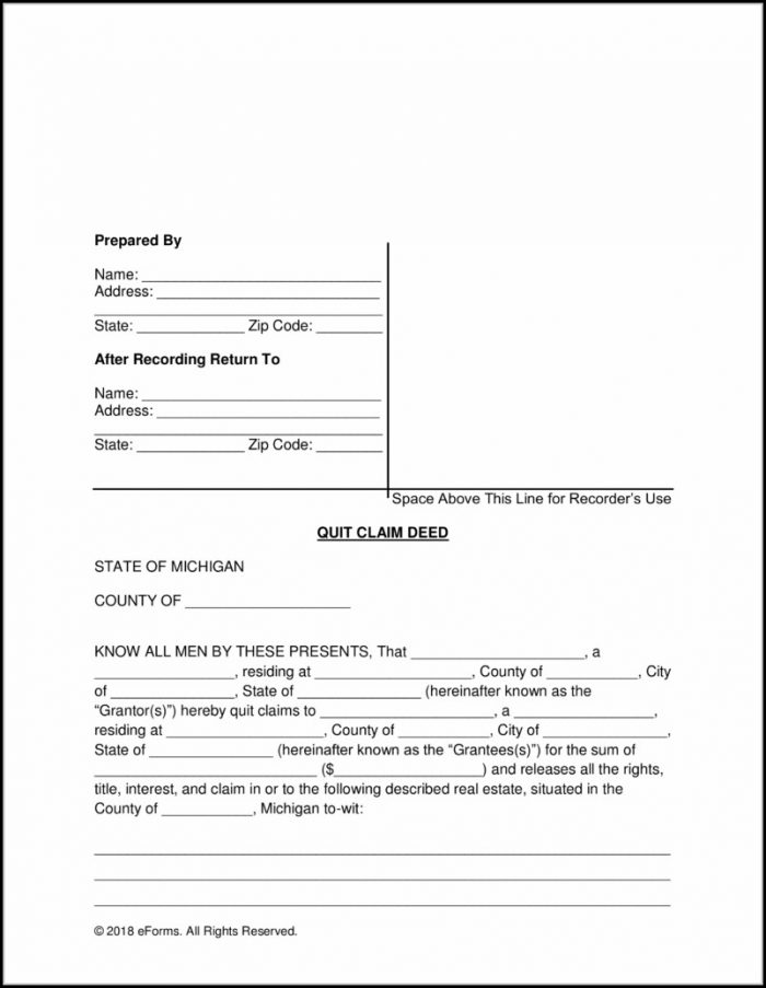 Michigan Quit Claim Deed Form Example - Form  Resume Examples