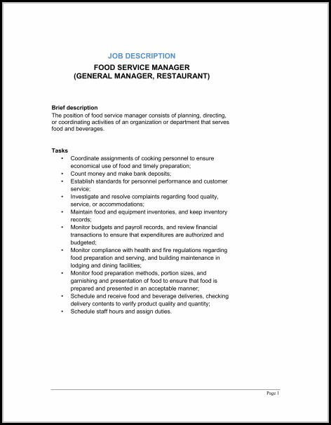 Restaurant General Manager Job Description Template - Template 1