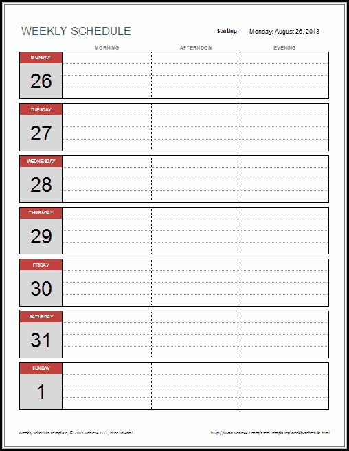 Weekly Schedule Template For Excel - Template 1  Resume Examples