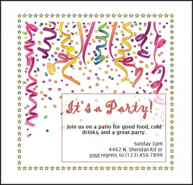Birthday Invitation Templates Word Free - Template 1  Resume