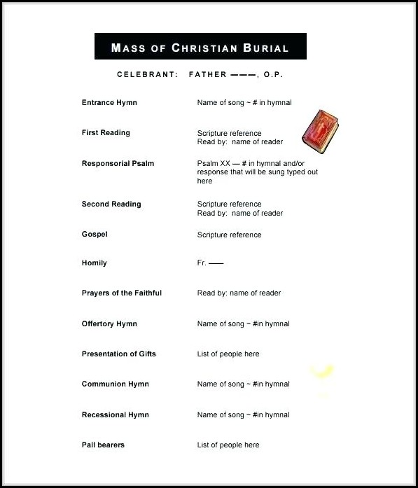 Blank Funeral Program Template Uk - Template 1  Resume Examples