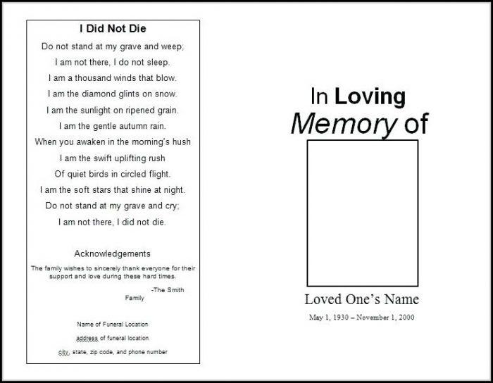 Blank Funeral Program Template Uk - Template 1  Resume Examples