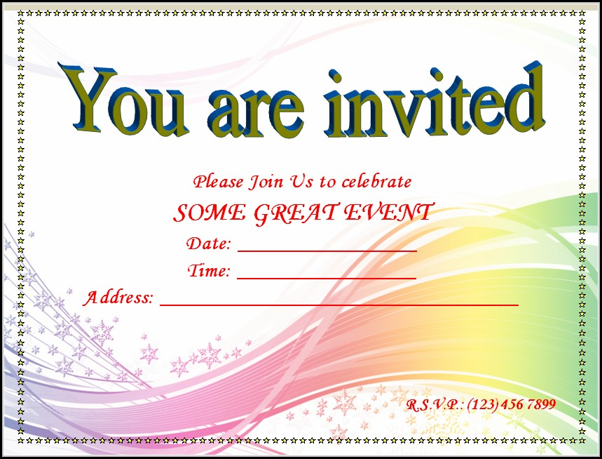 Blank Invitation Templates Free Word - Template 1  Resume Examples