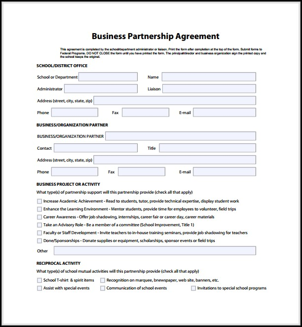 Business Partnership Agreement Template Free Download - Template 1