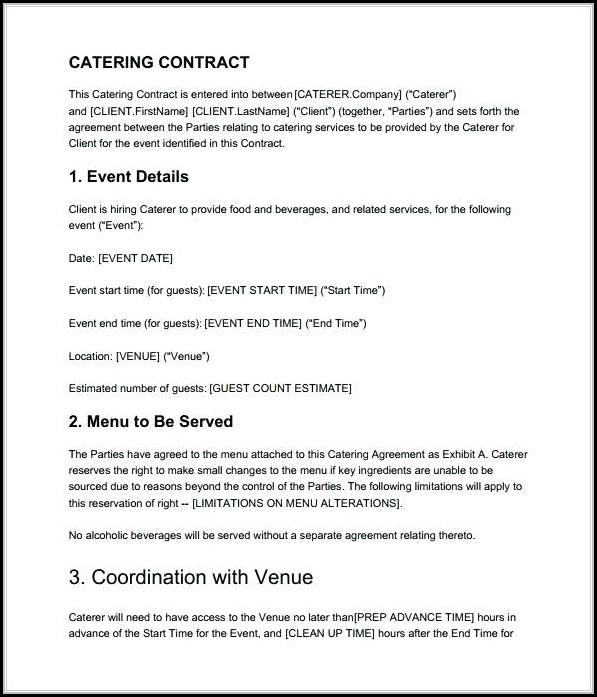 Catering Contract Template - Template 1  Resume Examples #Rg8DpkW8Mq
