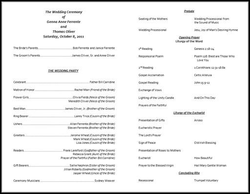 Catholic Wedding Program Template Word - Template 1  Resume