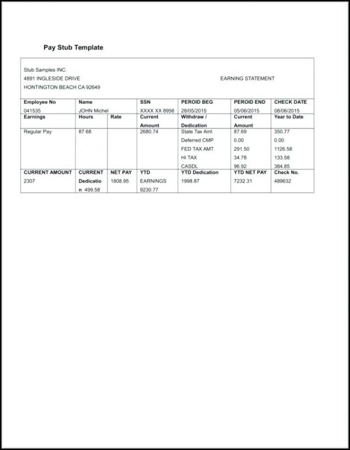 Blank Check Stub Template Free - Template 1  Resume Examples