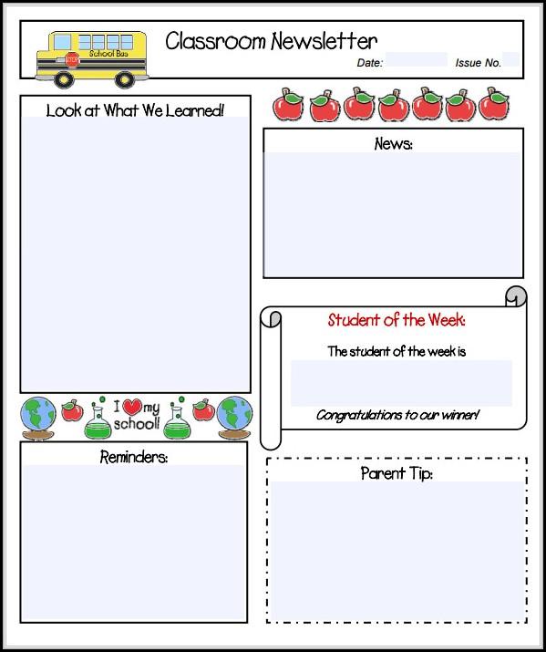 Free Editable Teacher Newsletter Templates - Template 1  Resume