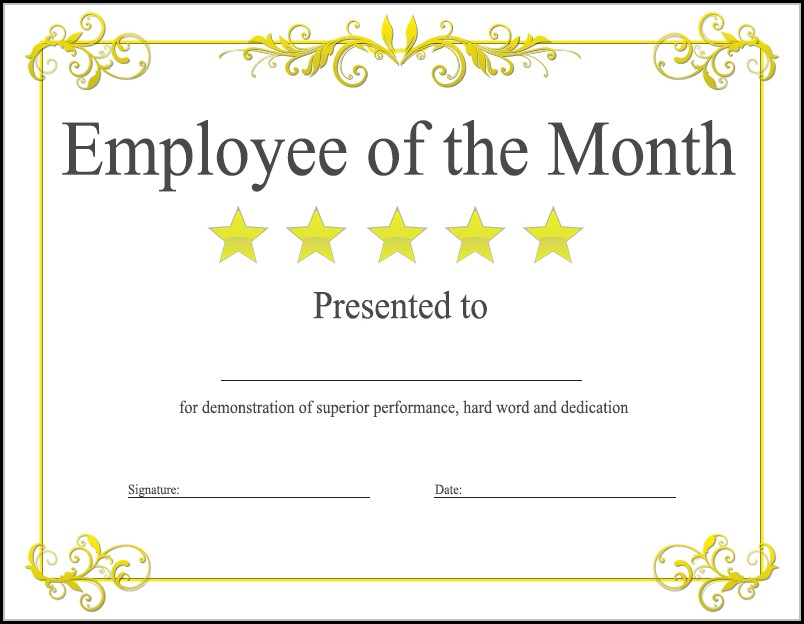 Employee Of The Month Certificate Template Free Download - Template