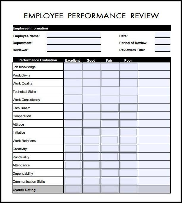Free Employee Evaluation Form Pdf - Form  Resume Examples #Vj1yzggKyl
