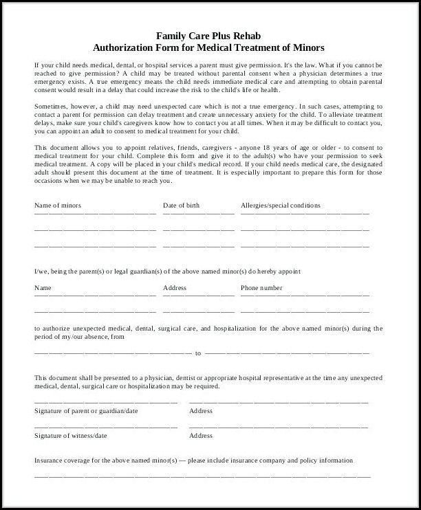 Free Medical Release Form For Minor - Form  Resume Examples #vq1Pq44KkR