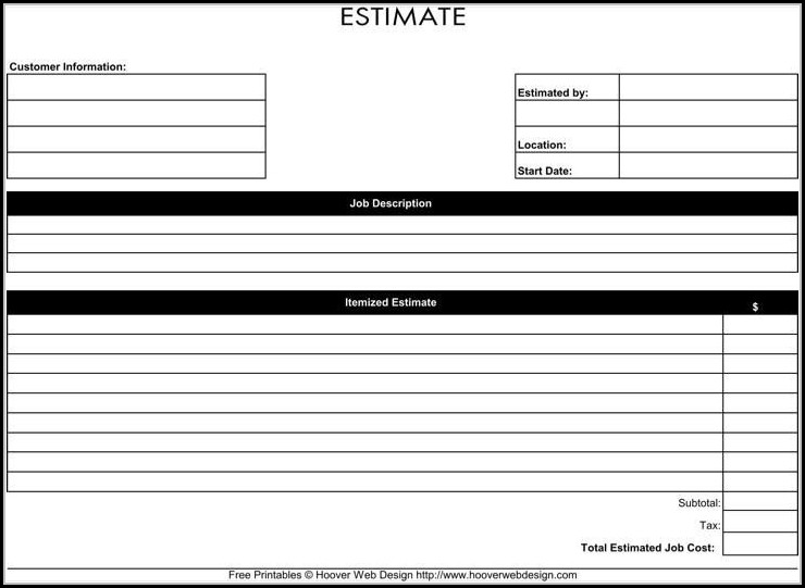 Free Roofing Estimate Forms Printable - Form  Resume Examples