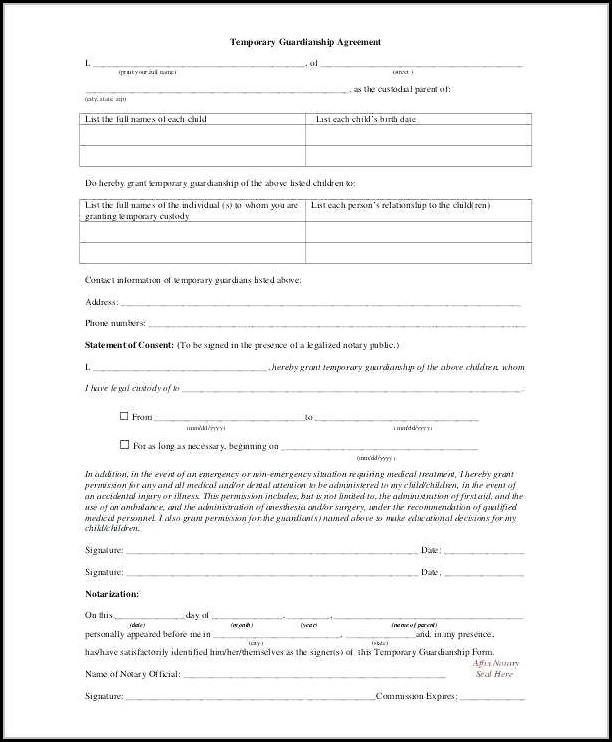 Temporary Guardianship Forms Missouri - Form  Resume Examples