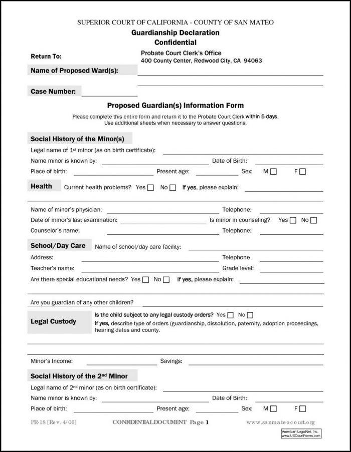 Temporary Guardianship Form For Grandparents Pdf - Template 1