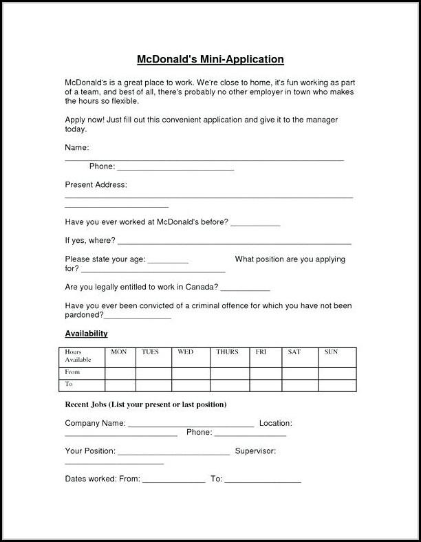 Online Job Application Mcdonalds - Job Applications  Resume