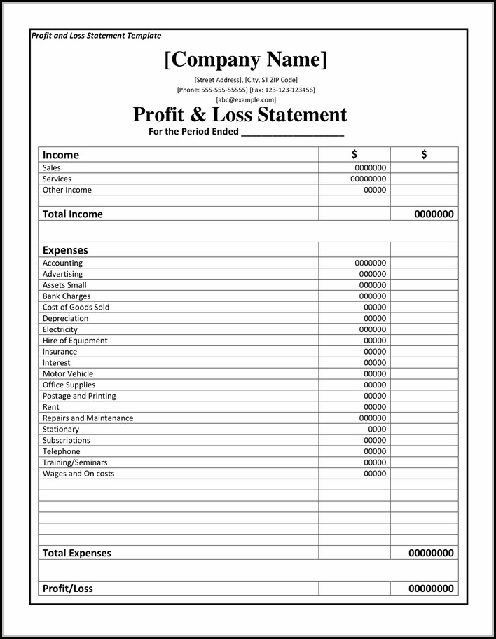 Profit Loss Format - Form  Resume Examples #4Y8b20O86m