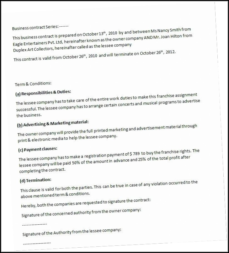 Residential Cleaning Contract Template - Template 2  Resume
