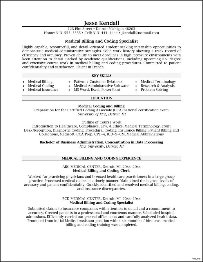 Entry Level Medical Billing And Coding Resume Sample - Resume