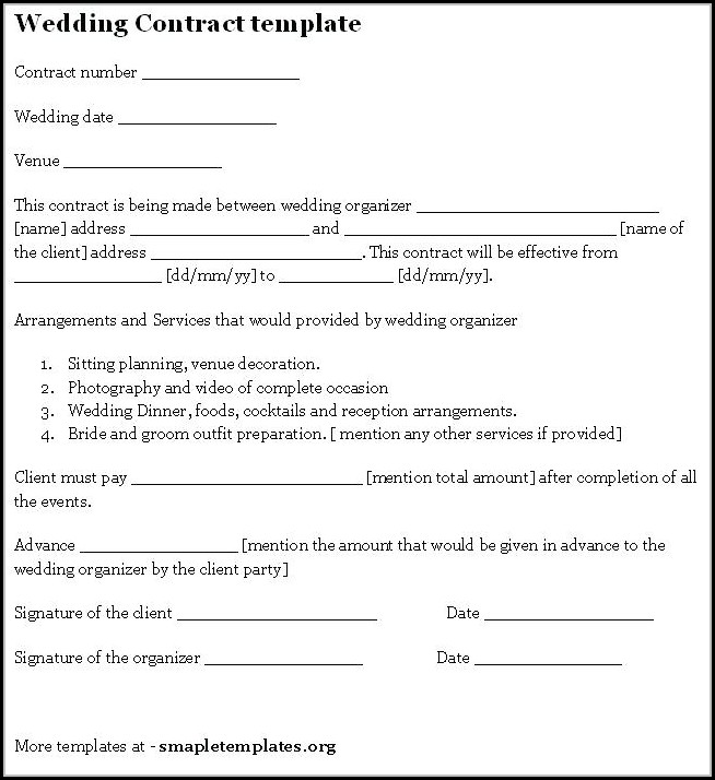 Wedding Vendor Contract Template - Template 2  Resume Examples