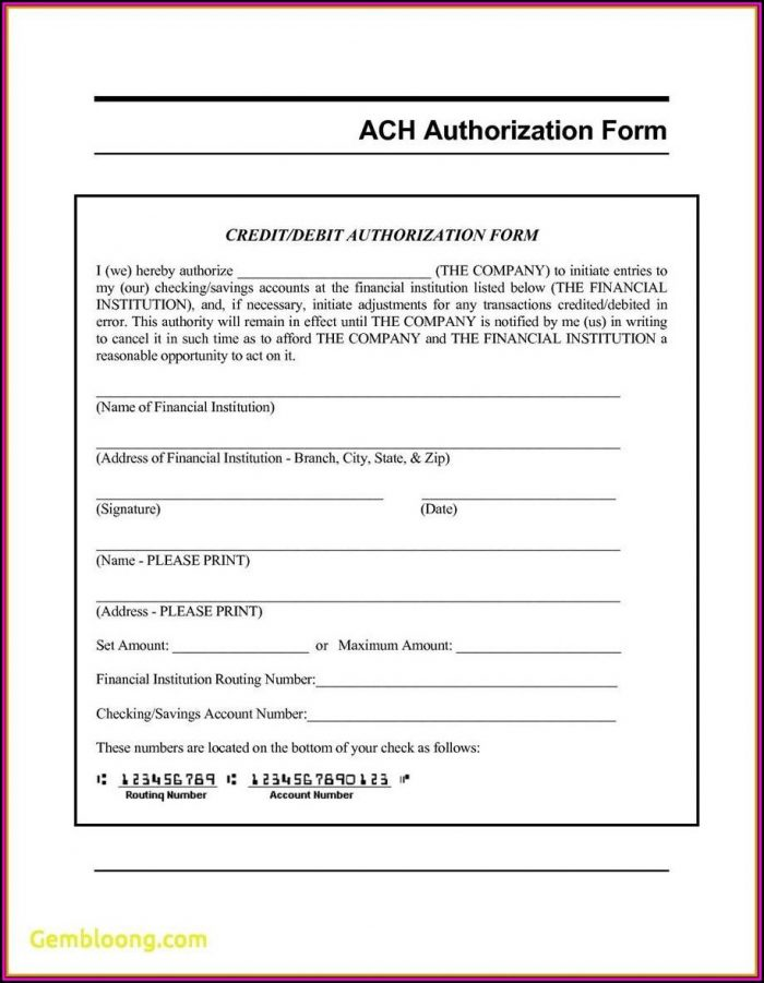 ach authorization form template - Pinarkubkireklamowe