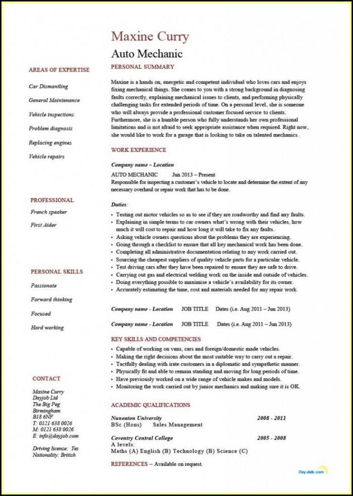 cv application form template