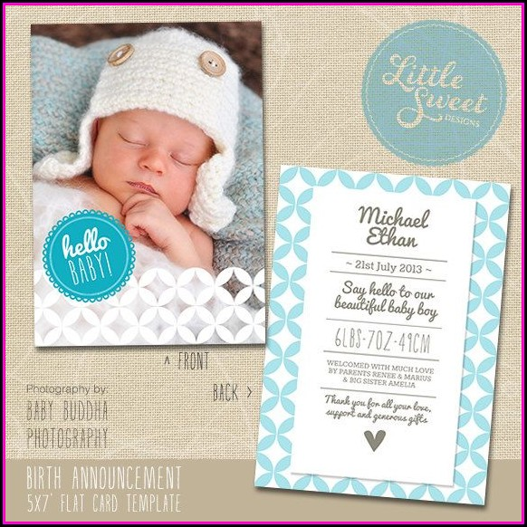 Baby Birth Announcement Photoshop Templates Free - Template 2