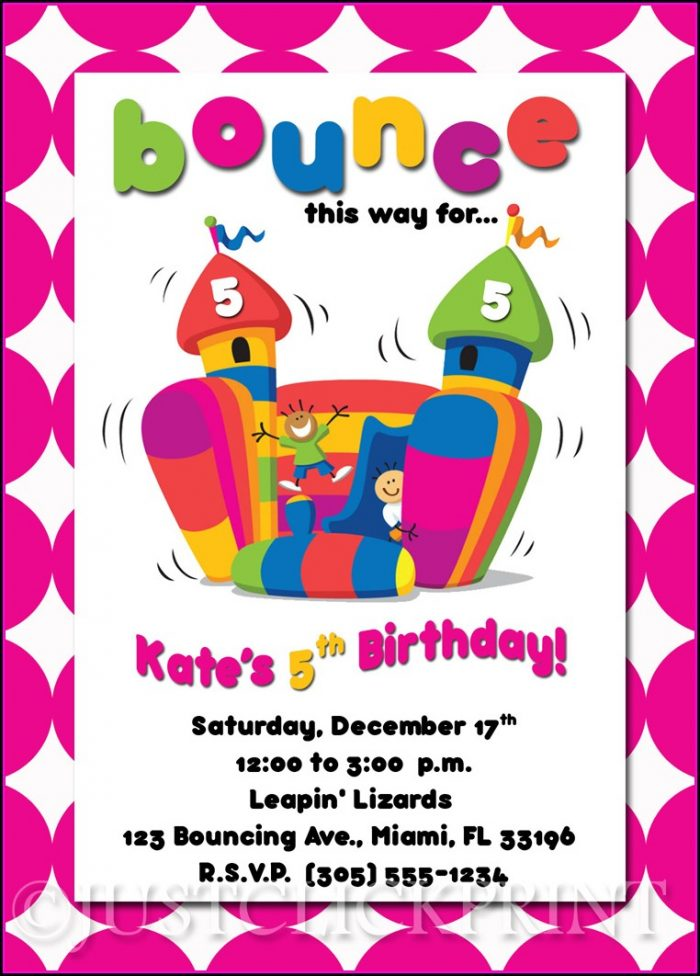 Bounce House Invitations Template - Template 2  Resume Examples