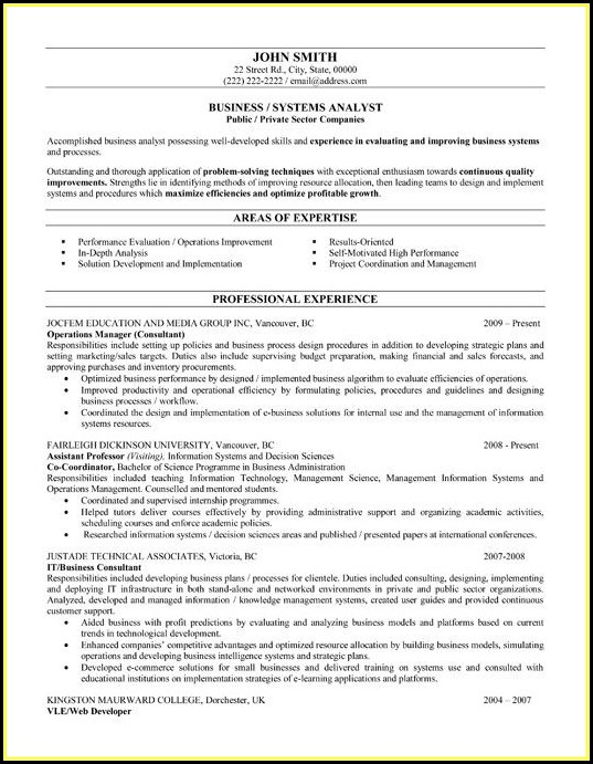 Business Analyst Resume Templates Samples - Resume  Resume Examples