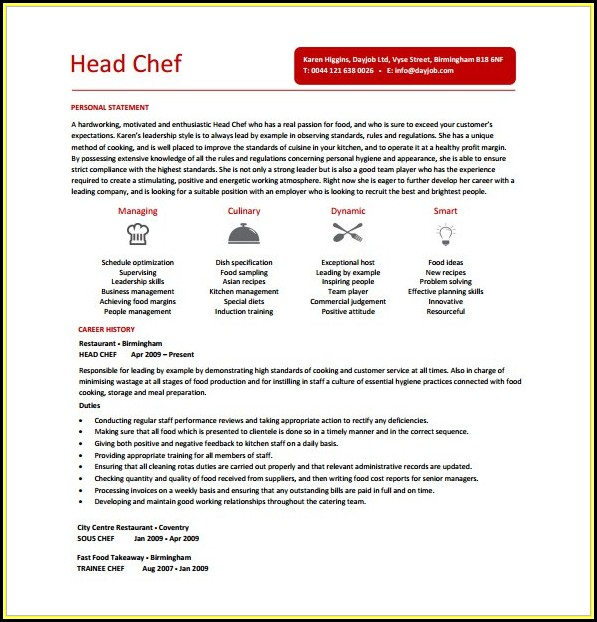 Chef Cv Template Free - Resume  Resume Examples #9x8rjRZ8dR