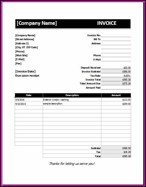 Deposit Invoice Template Excel - Template 2  Resume Examples