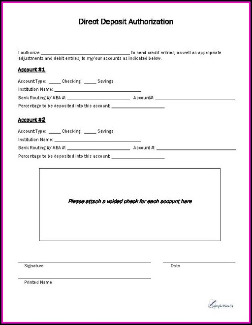 Direct Deposit Authorization Form Template Canada - Template 2