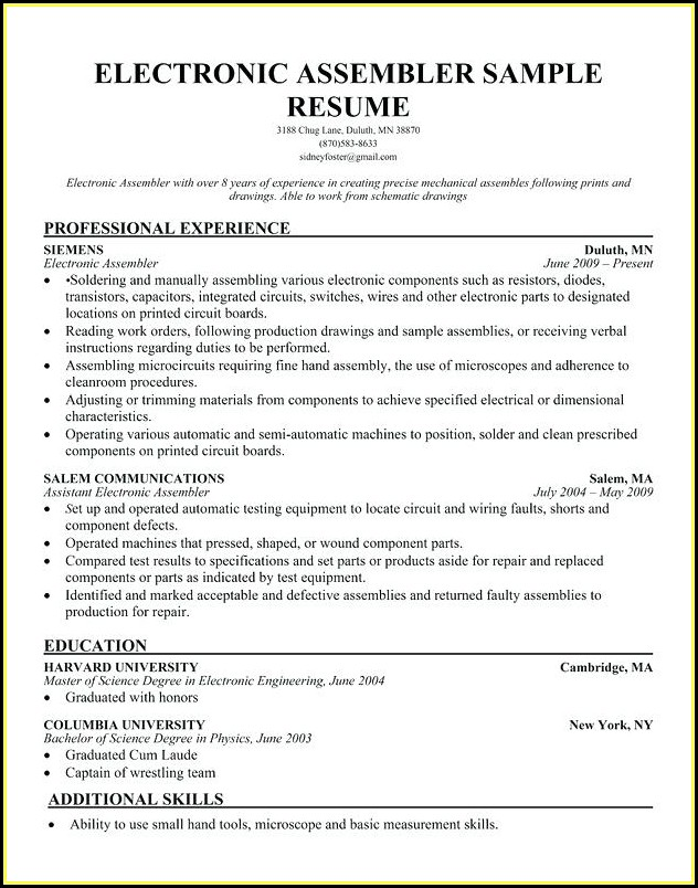 Electronic Assembler Resume Sample - Resume  Resume Examples