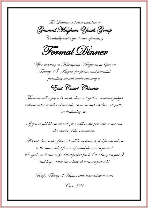 Formal Dinner Invitation Template - Template 1  Resume Examples
