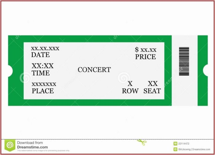 Concert Ticket Template Free Printable - Template 1  Resume