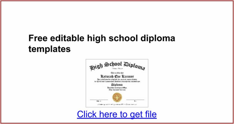 Free Editable High School Diploma Templates - Template 1  Resume