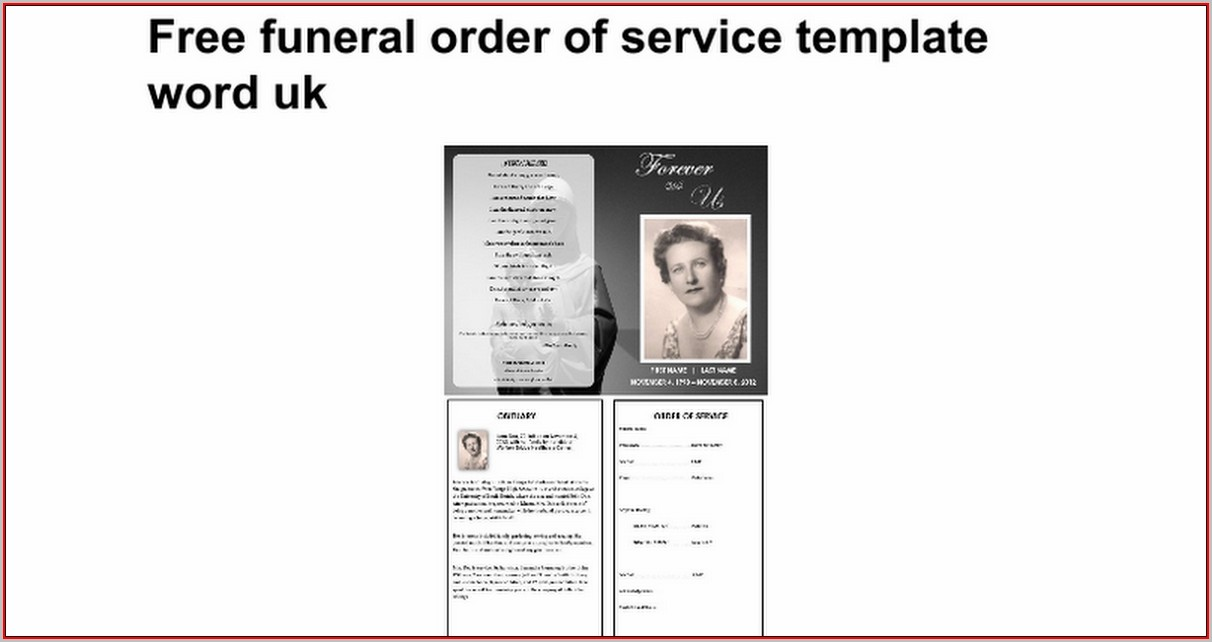 Free Funeral Order Of Service Template Word Uk - Template 1  Resume