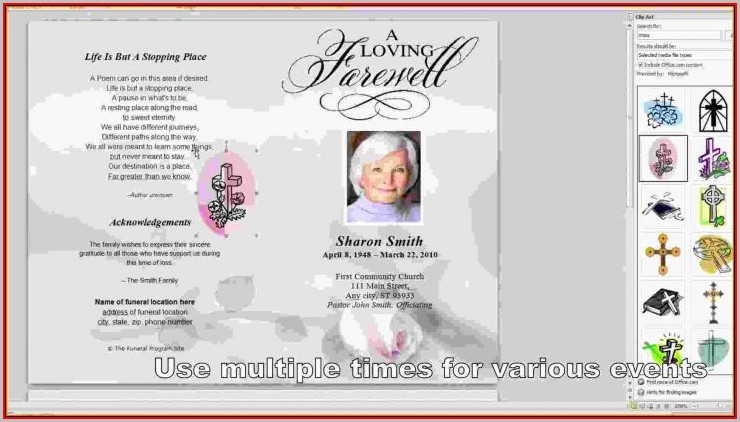 Free Funeral Program Template Microsoft Word 2003 - Template 1