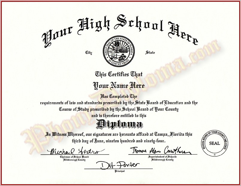 Free High School Diploma Templates - Template 1  Resume Examples