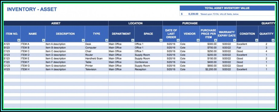 Asset Inventory Management Excel Template - Template 1  Resume