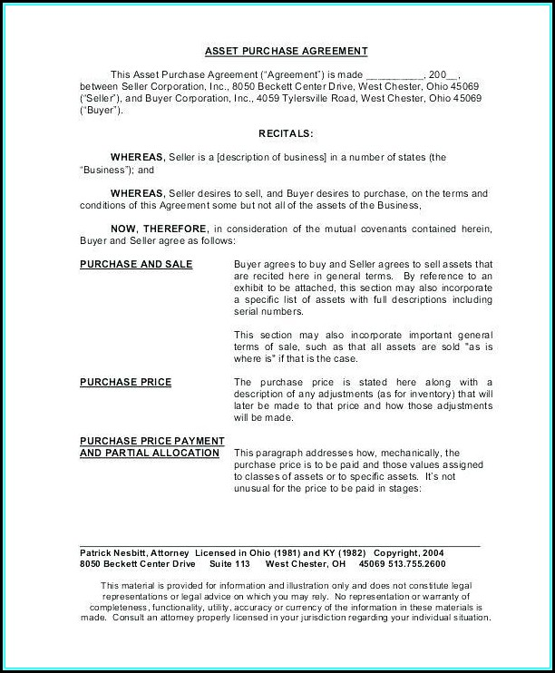 Asset Purchase Contract Template - Template 1  Resume Examples