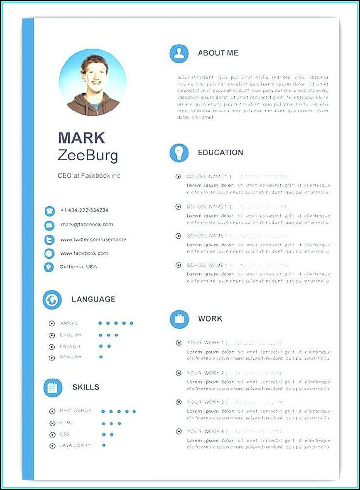 Attractive Resume Templates Free Download Doc - Template 1  Resume